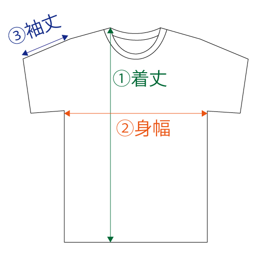 Tシャツサイズ説明図